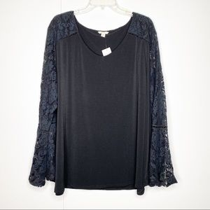 Cato Lace Detailed Black Long Sleeve Blouse 22/24